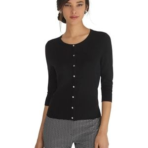 WHBM • Ribbed Contrast Snap Cardigan